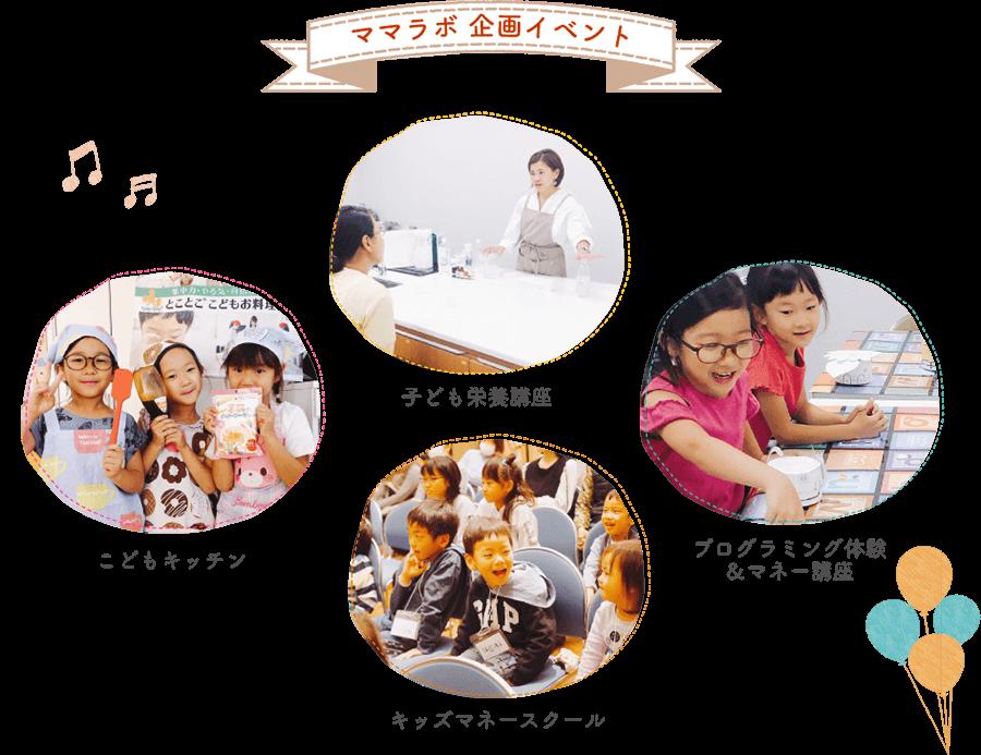 ママラボ 企画イベント こどもキッチン/キッズマネースクール/プログラミング体験/&マネー講座子ども栄養講座